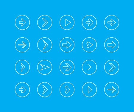 Thin line icon set - arrow