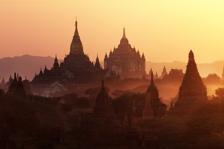 stupas: Many temple in Bagan Area at Sunset, Myanmar. Stock Photo