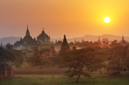 Many temple in Bagan Area at Sunset, Myanmar. photo