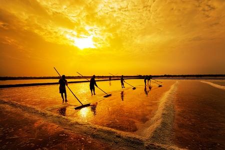 Salt farming in the coastal provinces of Thailand 스톡 콘텐츠