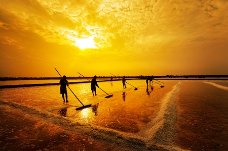 Salt farming in the coastal provinces of Thailand Stock Photo