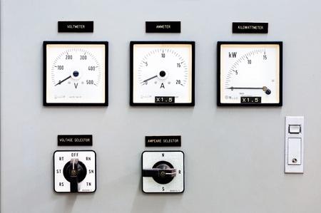 tablero de control: Marcar el control de la producci�n de electricidad. Foto de archivo