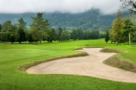 Golf course on the hill at Bali , Indonesia