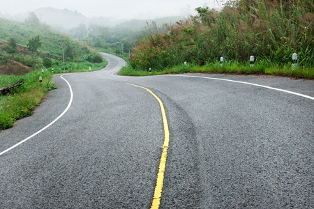 curve s shape road go to hill photo