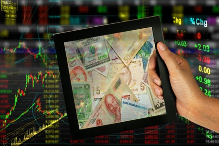 stock exchange to bank note in frame Stock Photo - 9545163