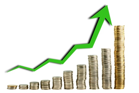 Still life shot of chart made by coin Stock Photo - 9545167
