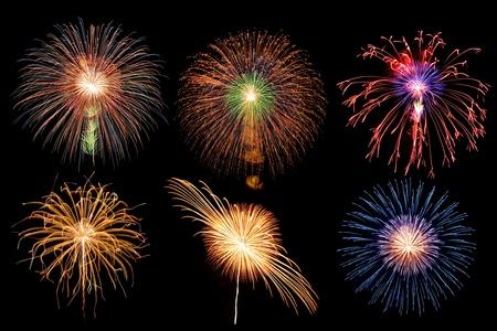 mix firework in black sky background photo