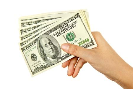 cash in hand: Mano de dinero en d�lares estadounidenses