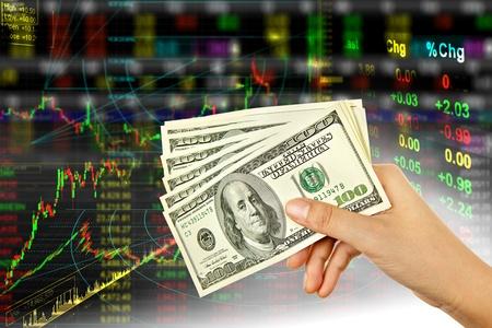 agente comercial: Dólar de mano en segundo plano material