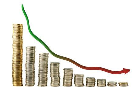 perdidas y ganancias: abajo trand gráfico de moneda Foto de archivo