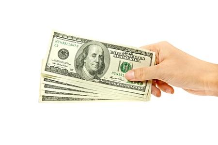argent: argent dans la main Banque d'images
