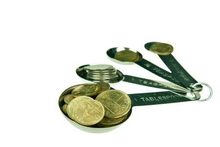 measuring spoon: Coin in measuring spoon