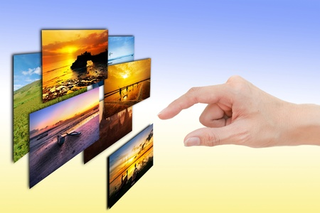 woman hand select photos in colour background
