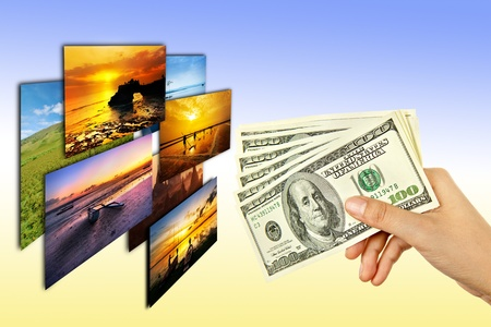 american media: money in woman hand select photos in colour background