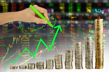 Hand writeing green graph in coin stock index background Stock Photo - 10794173