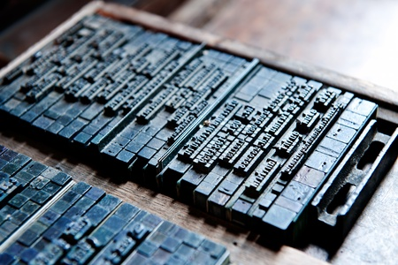 typeset: Thai typeset word blog and type in letterpress