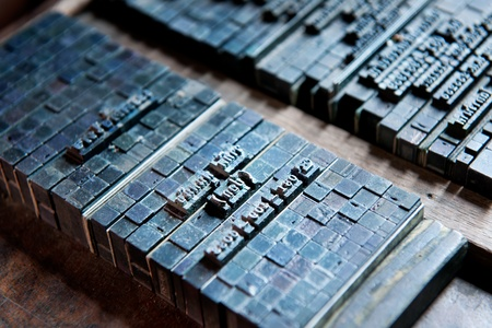 Thai typeset word blog and type in letterpress