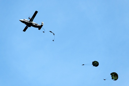 paratrooper: parachute drop from old aircraft