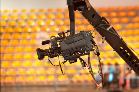 TV camera on a crane in studio