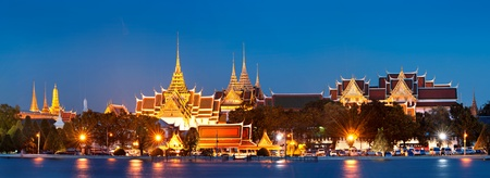 Grand palace at night in Bangkok, Thailand photo