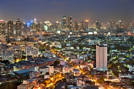 top view of bangkok city at night photo