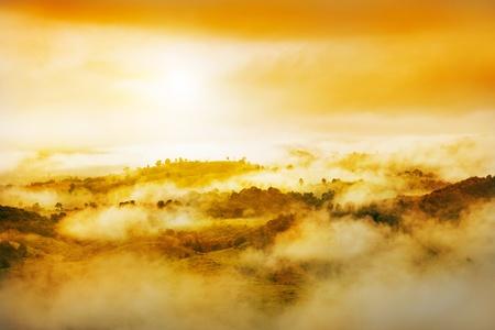 over the hill: La luz brumosa de Oro y sobre la colina Foto de archivo