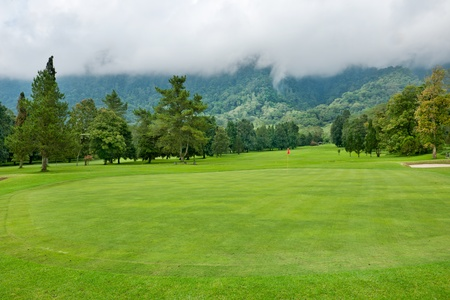 Golf course on the hill at Bali , Indonesia photo