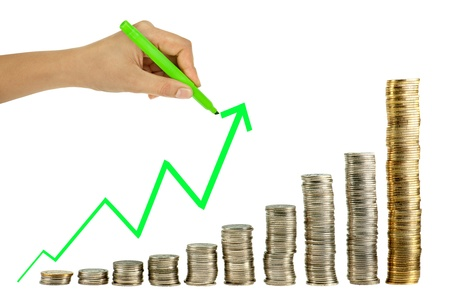 Hand drawing in coin graph Stock Photo - 11957066