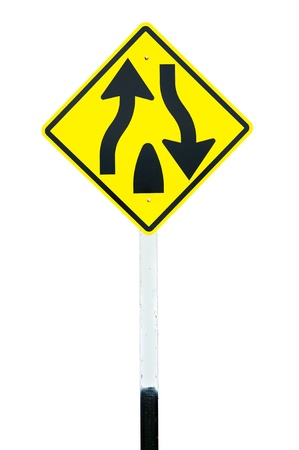 Traffic sign  Dual Carriage Way End  isolated photo