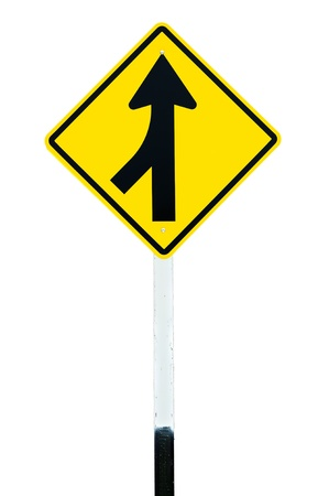 Traffic sign  Lanes Merging Left  isolated Stock Photo - 11957103