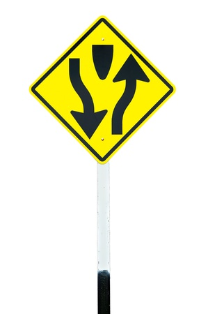 Traffic sign  Dual Carriage Way Ahead  isolated photo