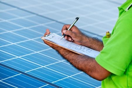 engineer checking solar power station Stock Photo - 11957149