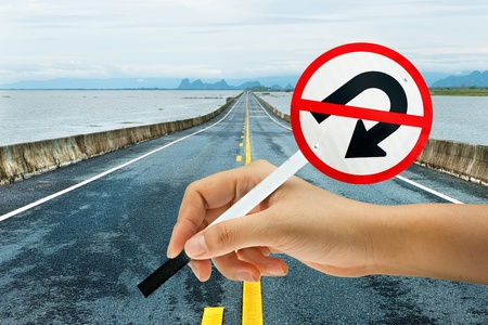 no lines: Traffic sign  no u turn  in hand