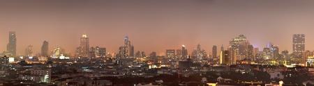 top view of bangkok city at night photo