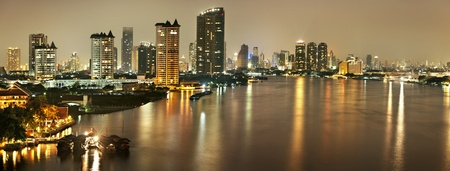 Bangkok city panorama at night ,Thailand