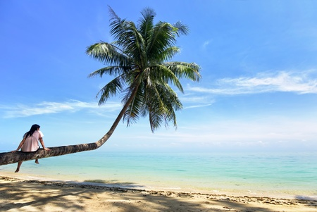 woman sitting on coconut tree  photo