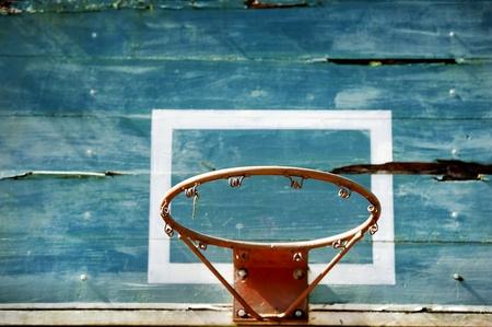 high school basketball: Old basketball board in a school