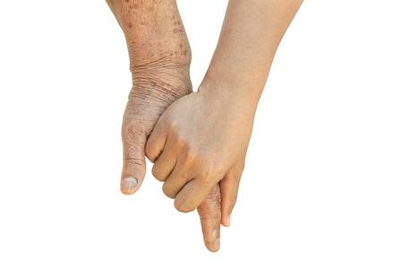 jeune vieux: Vieilles Femmes et Jeunes tenant la main