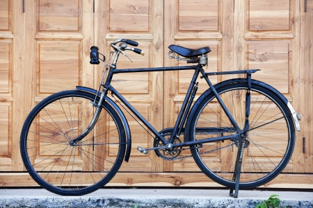 Old black classic bicycle photo