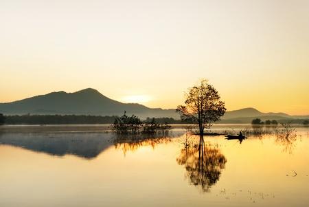 fisherman fishing in big lake ,thailand
