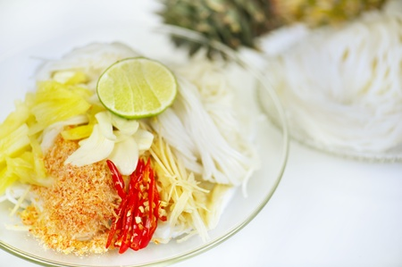 Mix noodle and salad in thai style photo