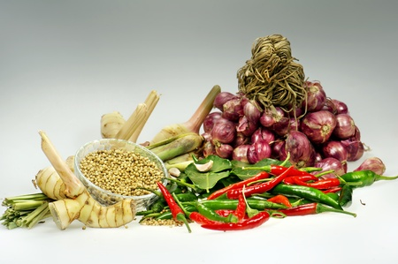 ingredient of thai spicy soup  photo