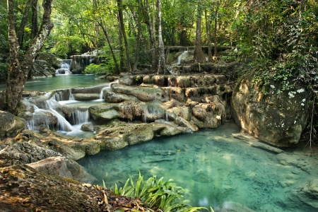 national plant: waterfall in Erawan national park , Kanchanaburi , thailand