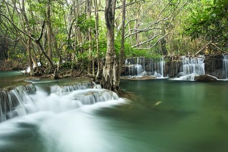 mea: waterfall in  national park , Kanchanaburi , thailand