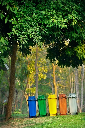 five colors recycle bins in  forest Stock Photo - 13566538