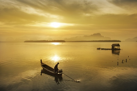 fisherman drive boat  in  river , Thailand Stock Photo