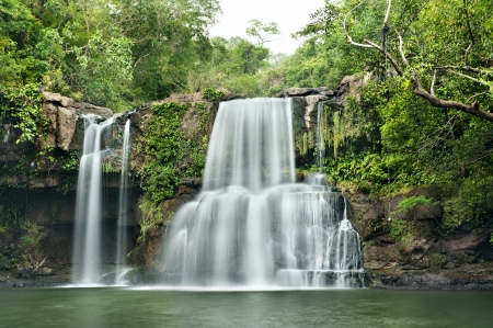 rill: waterfall in thai national park  In the deep forest on mountain  Stock Photo