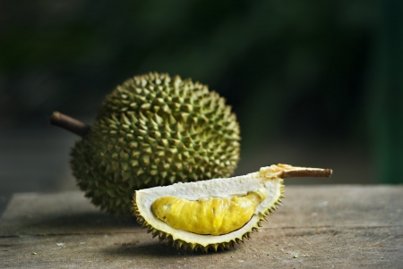 yellow Durian on table Stock fotó