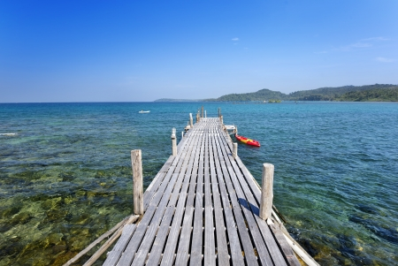 wooden dock: wood bridge to the sea