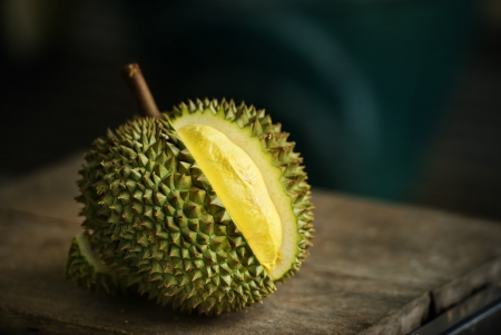 yellow Durian on table Stock Photo